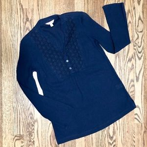 Navy Lilly Pulitzer Blouse With Crochet Detail